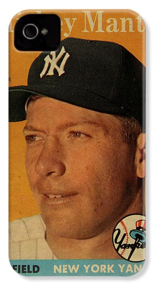 1958 Topps Baseball Mickey Mantle Card Vintage Poster IPhone 4s Case by Design Turnpike