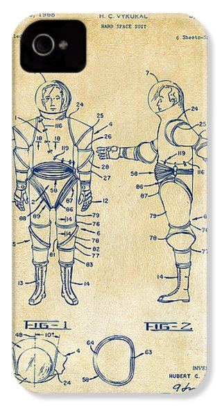 1968 Hard Space Suit Patent Artwork - Vintage IPhone 4s Case by Nikki Marie Smith