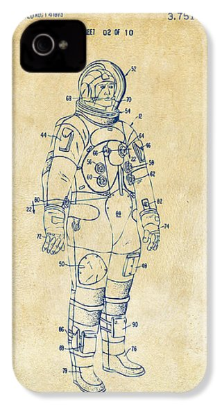 1973 Astronaut Space Suit Patent Artwork - Vintage IPhone 4s Case by Nikki Marie Smith