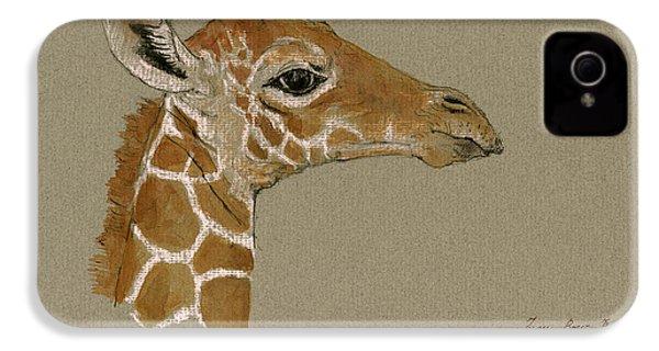 Giraffe Head Study  IPhone 4s Case by Juan  Bosco