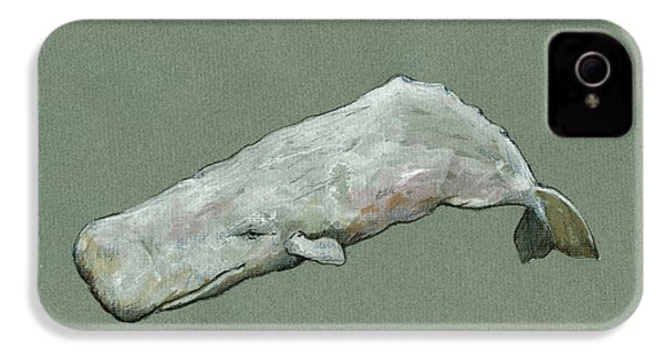 Moby Dick The White Sperm Whale  IPhone 4s Case by Juan  Bosco
