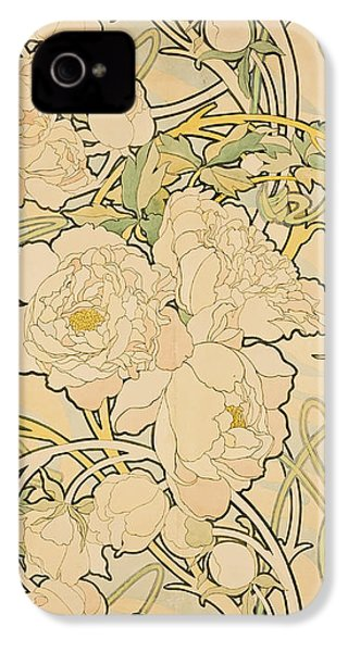 Peonies IPhone 4s Case by Alphonse Mucha
