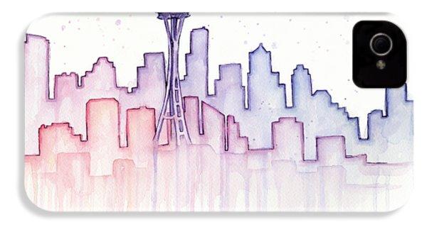 Seattle Skyline Watercolor IPhone 4s Case by Olga Shvartsur