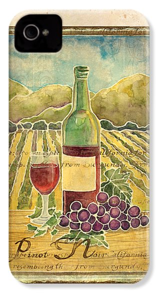 Vineyard Pinot Noir Grapes N Wine - Batik Style IPhone 4s Case by Audrey Jeanne Roberts