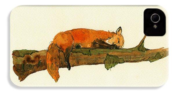 Fox Sleeping Painting IPhone 4s Case by Juan  Bosco