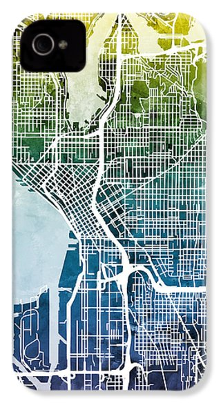Seattle Washington Street Map IPhone 4s Case by Michael Tompsett