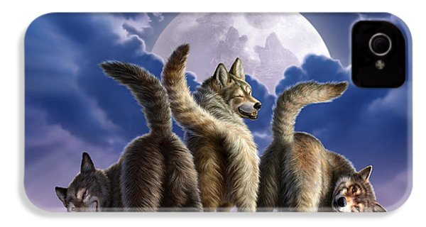 3 Wolves Mooning IPhone 4s Case by Jerry LoFaro