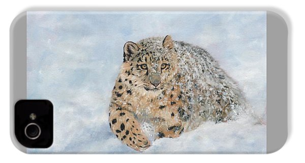 Snow Leopard IPhone 4s Case by David Stribbling