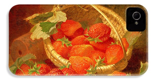 A Basket Of Strawberries On A Stone Ledge IPhone 4s Case by Eloise Harriet Stannard