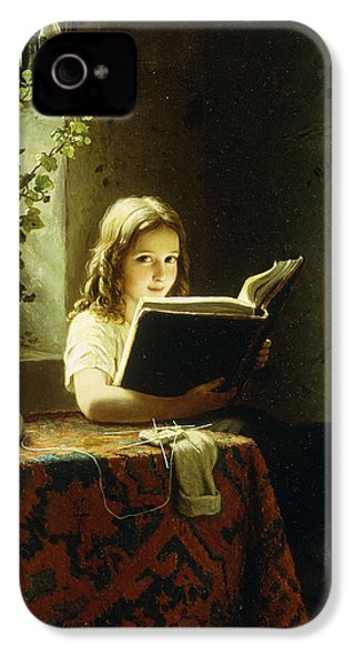 A Girl Reading IPhone 4s Case by Johann Georg Meyer