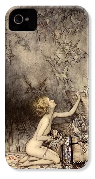 A Sudden Swarm Of Winged Creatures Brushed Past Her IPhone 4s Case by Arthur Rackham