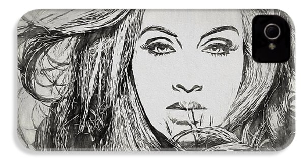 Adele Charcoal Sketch IPhone 4s Case by Dan Sproul