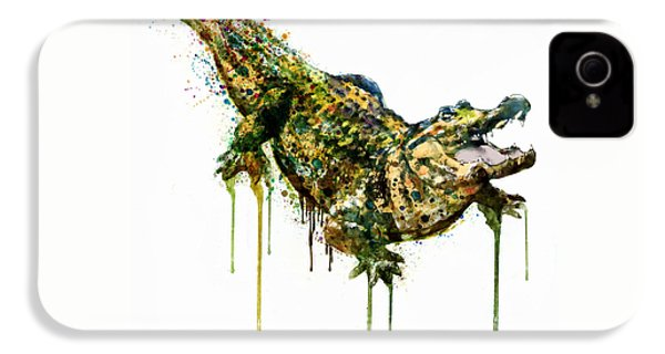 Alligator Watercolor Painting IPhone 4s Case by Marian Voicu
