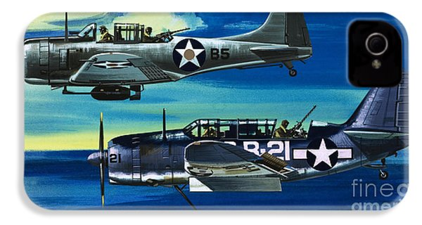 American Ww2 Planes Douglas Sbd1 Dauntless And Curtiss Sb2c1 Helldiver IPhone 4s Case by Wilf Hardy