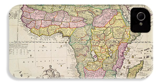 Antique Map Of Africa IPhone 4s Case by Pieter Schenk
