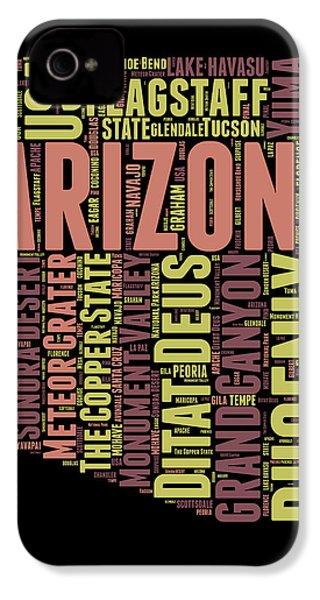 Arizona Word Cloud Map 1 IPhone 4s Case by Naxart Studio