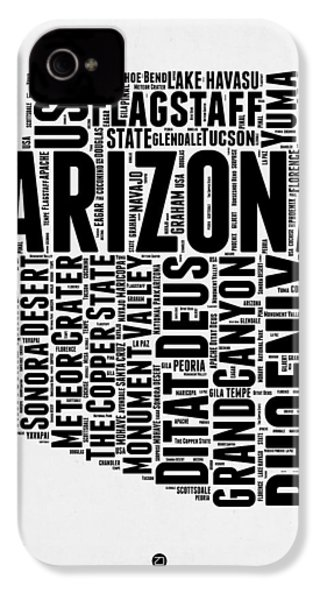 Arizona Word Cloud Map 2 IPhone 4s Case by Naxart Studio