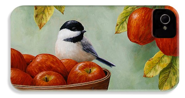Apple Chickadee Greeting Card 1 IPhone 4s Case by Crista Forest