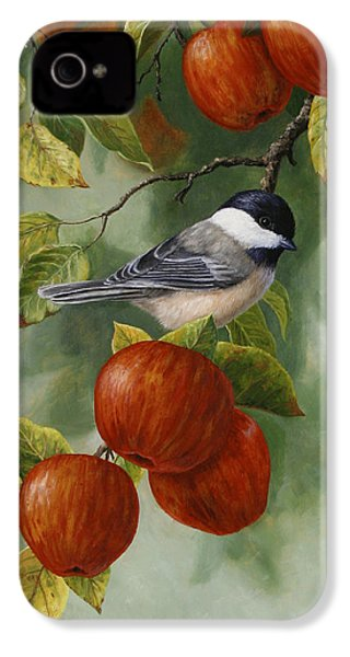 Apple Chickadee Greeting Card 2 IPhone 4s Case by Crista Forest