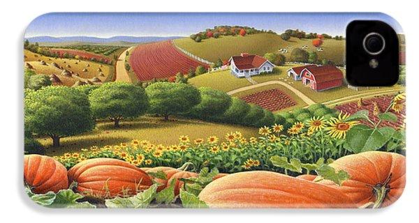 Farm Landscape - Autumn Rural Country Pumpkins Folk Art - Appalachian Americana - Fall Pumpkin Patch IPhone 4s Case by Walt Curlee