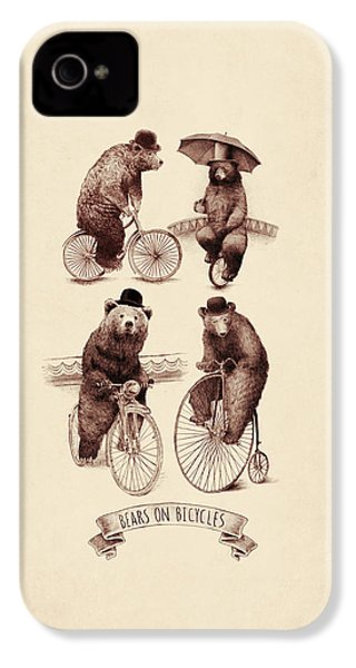 Bears On Bicycles IPhone 4s Case by Eric Fan