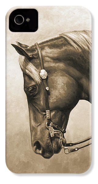 Western Horse Painting In Sepia IPhone 4s Case by Crista Forest