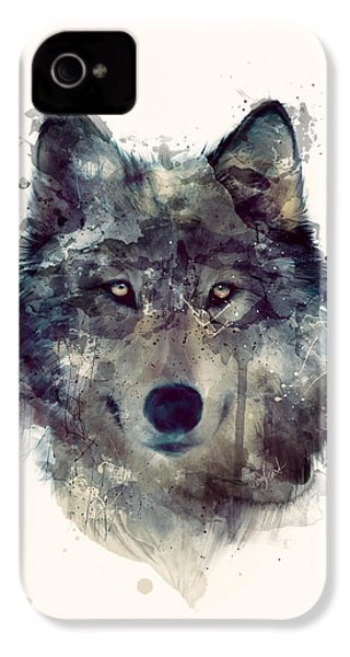 Wolf // Persevere IPhone 4s Case by Amy Hamilton