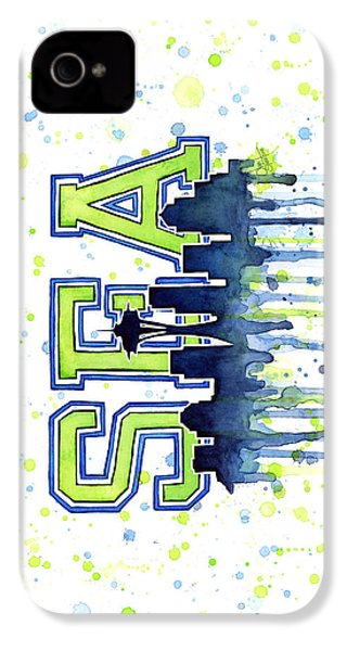 Seattle Watercolor 12th Man Art Painting Space Needle Go Seahawks IPhone 4s Case by Olga Shvartsur