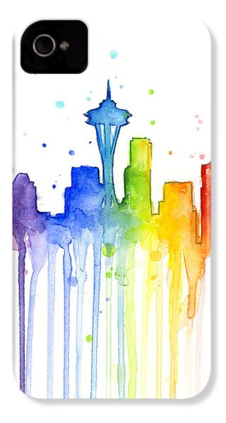 Seattle Rainbow Watercolor IPhone 4s Case