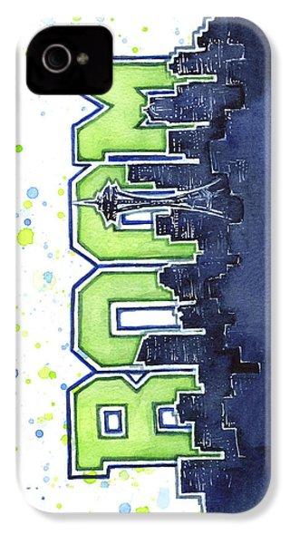 Seattle 12th Man Legion Of Boom Painting IPhone 4s Case by Olga Shvartsur