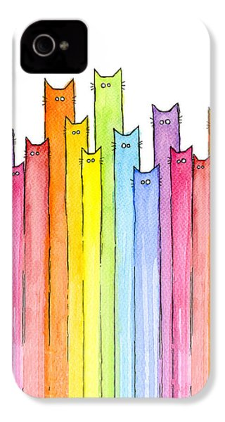 Cat Rainbow Pattern IPhone 4s Case by Olga Shvartsur