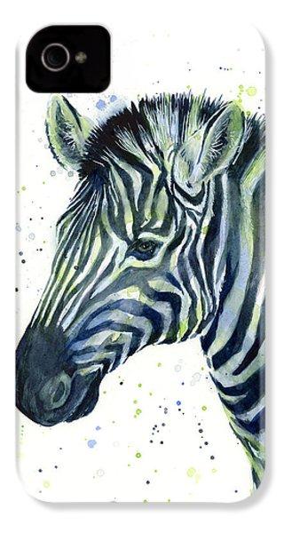 Zebra Watercolor Blue Green  IPhone 4s Case by Olga Shvartsur