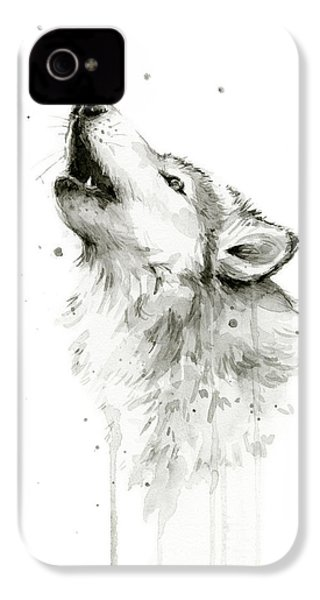 Howling Wolf Watercolor IPhone 4s Case by Olga Shvartsur