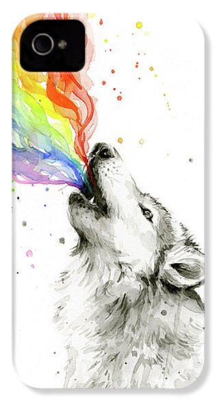 Wolf Rainbow Watercolor IPhone 4s Case