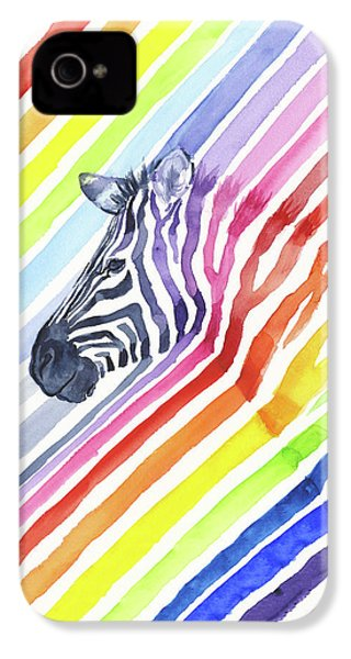 Rainbow Zebra Pattern IPhone 4s Case by Olga Shvartsur