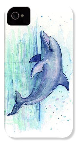 Dolphin Watercolor IPhone 4s Case by Olga Shvartsur