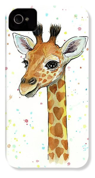 Baby Giraffe Watercolor With Heart Shaped Spots IPhone 4s Case by Olga Shvartsur