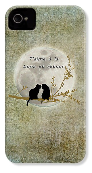 IPhone 4s Case featuring the digital art T'aime A La Lune Et Retour by Linda Lees