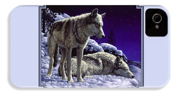 Wolf Painting - Night Watch IPhone 4s Case by Crista Forest