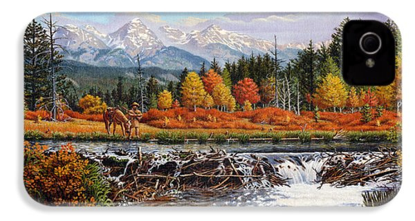 Western Mountain Landscape Autumn Mountain Man Trapper Beaver Dam Frontier Americana Oil Painting IPhone 4s Case