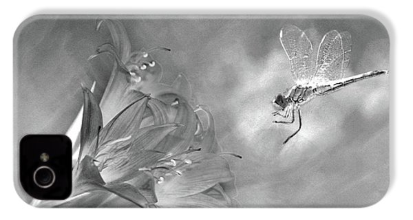 The Dragonfly And The Flower IPhone 4s Case by Linda Lees