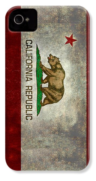 California Republic State Flag Retro Style IPhone 4s Case by Bruce Stanfield