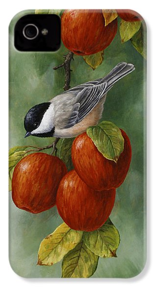 Bird Painting - Apple Harvest Chickadees IPhone 4s Case by Crista Forest