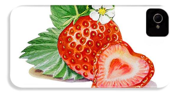 Artz Vitamins A Strawberry Heart IPhone 4s Case by Irina Sztukowski