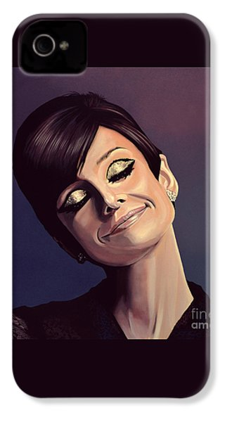 Audrey Hepburn Painting IPhone 4s Case by Paul Meijering
