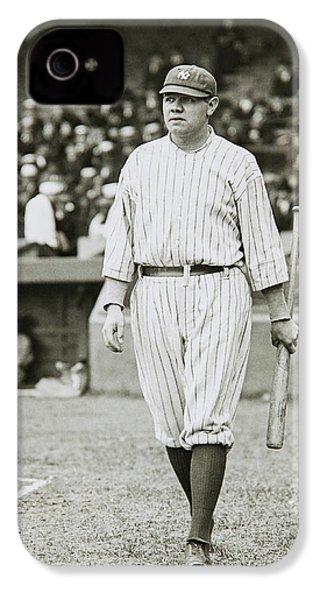 Babe Ruth Going To Bat IPhone 4s Case by Jon Neidert