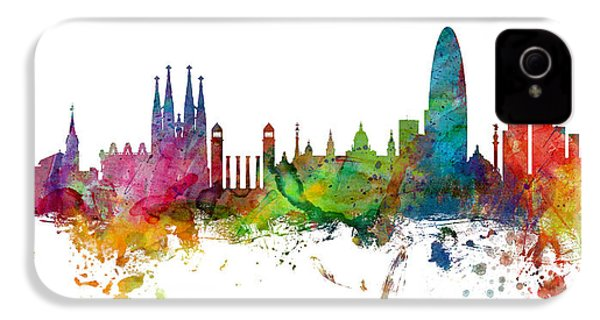 Barcelona Spain Skyline Panoramic IPhone 4s Case by Michael Tompsett