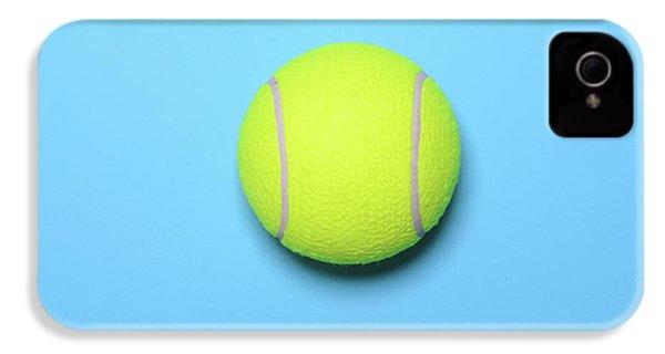 Big Tennis Ball On Blue Background - Trendy Minimal Design Top V IPhone 4s Case by Aleksandar Mijatovic