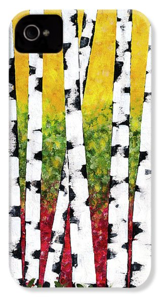IPhone 4s Case featuring the mixed media Birch Forest Trees by Christina Rollo