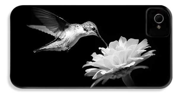 Black And White Hummingbird And Flower IPhone 4s Case by Christina Rollo